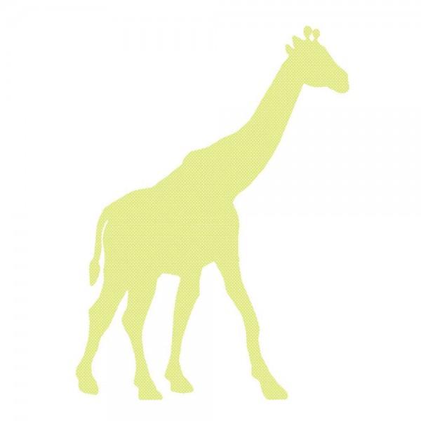 Inke Tapetentier Giraffe grün Punkte weiss