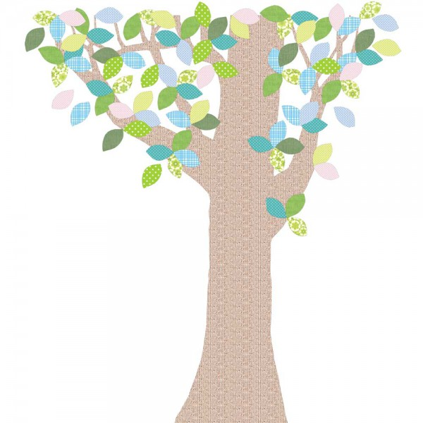 Inke Tapetenbaum 1 Stamm braun Blätter grün blau rosa