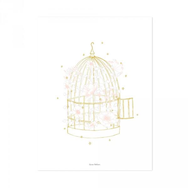 Lilipinso Poster Vogelkäfig mit Blüten rosa ocker