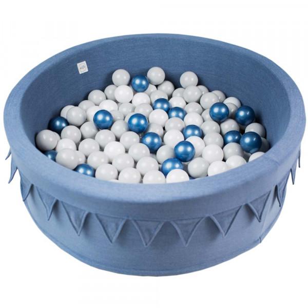 Minibe Bällebad Wimpel jeansblau incl. 200 Bällen in Wunschfarbe