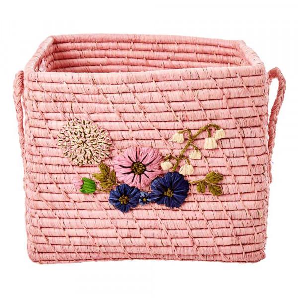 Rice Bastkorb rosa mit Blüten 30 x 30