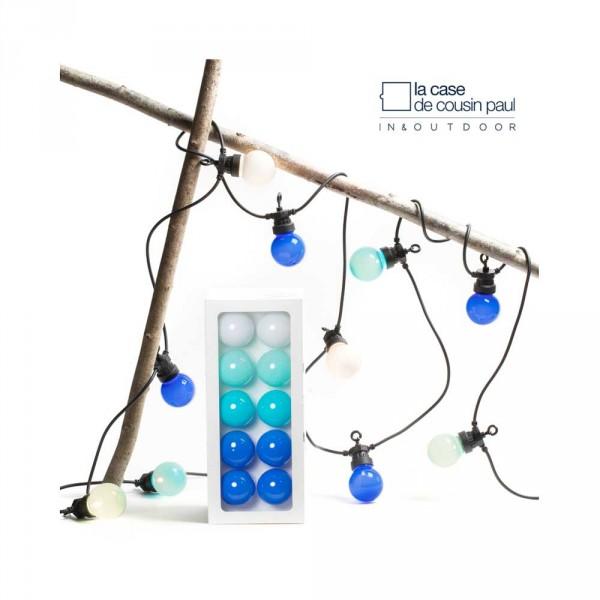 Cousin Paul Lichterkette Outdoor LED Pampelone weiss mint blau