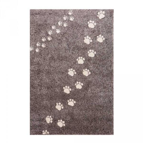 Art for Kids Kinderteppich Bärenspuren grau
