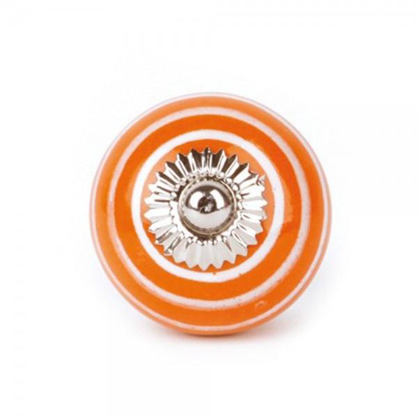 Knaufmanufaktur Möbelknauf Keramik orange Streifen weiss