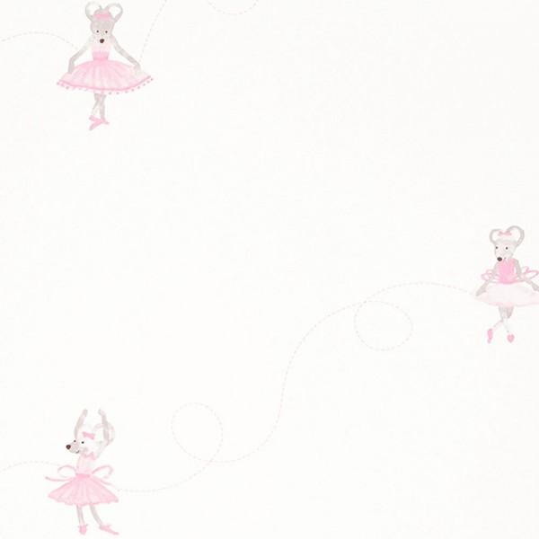 Casadeco Douce Nuit Tapete Ballett Maus rosa