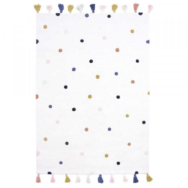 Lilipinso Teppich Tupfen pastell auf weiss 120 x 170 cm