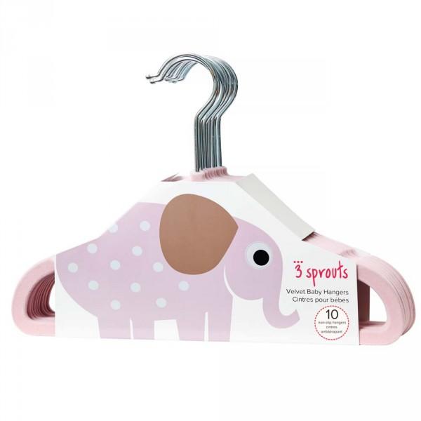 3 Sprouts Kinder Kleiderbügel Elefant uni rosa