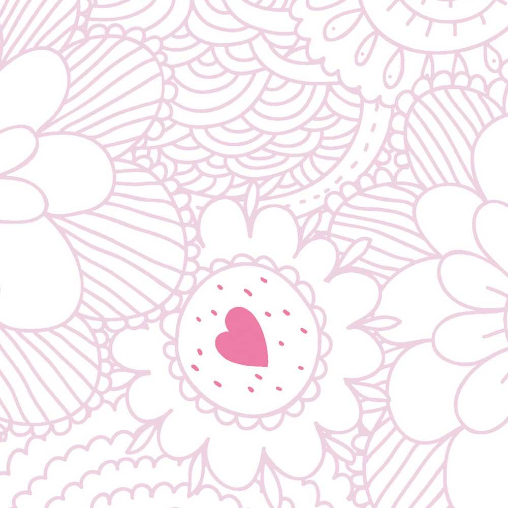Caselio Ohlala Tapete Blumen Ornamente Rosa Bei Kinder Räume