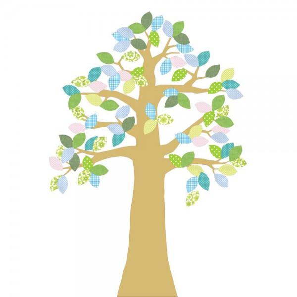 Inke Tapetenbaum 2 Stamm gold Blätter grün blau rosa