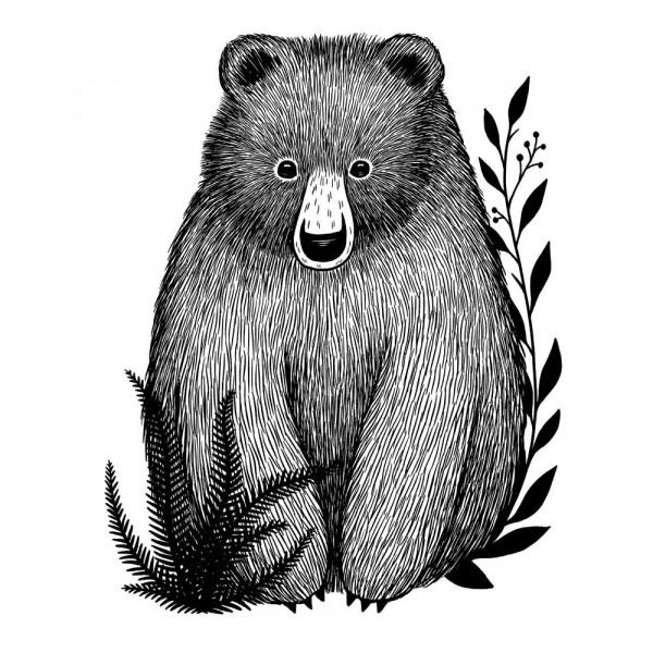 Lilipinso Wandsticker Kleiner Bär schwarz weiss