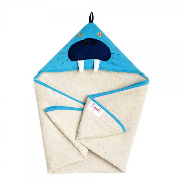 3 Sprouts Kapuzenbadetuch Walross blau