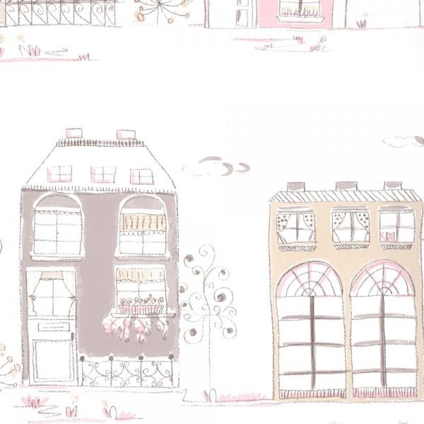 Casadeco Tapete Häuser braun rosa Jules & Julie