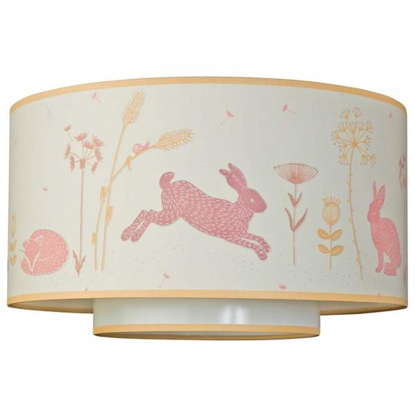 "Taftan Deckenlampe Doppelschirm ""Hello World"" rosa beige"