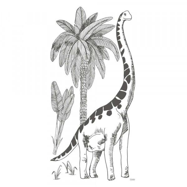 Lilipinso Wandsticker XL Brontosaurus mit Palmen grau