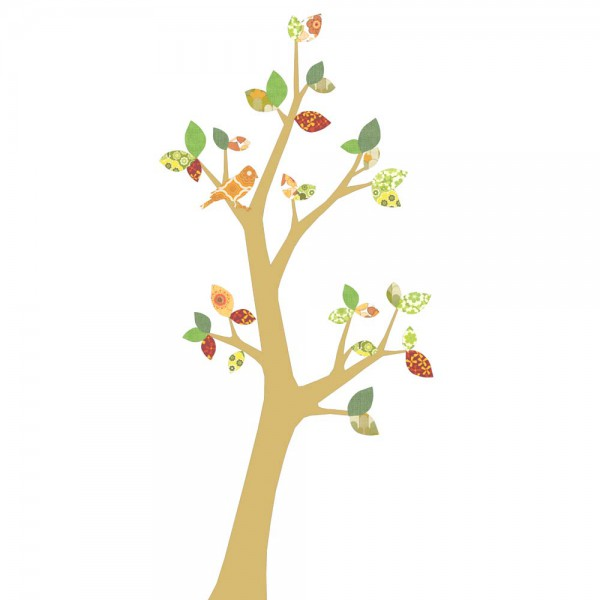 Inke Tapetenbaum 3 Stamm gold Blätter grün rot