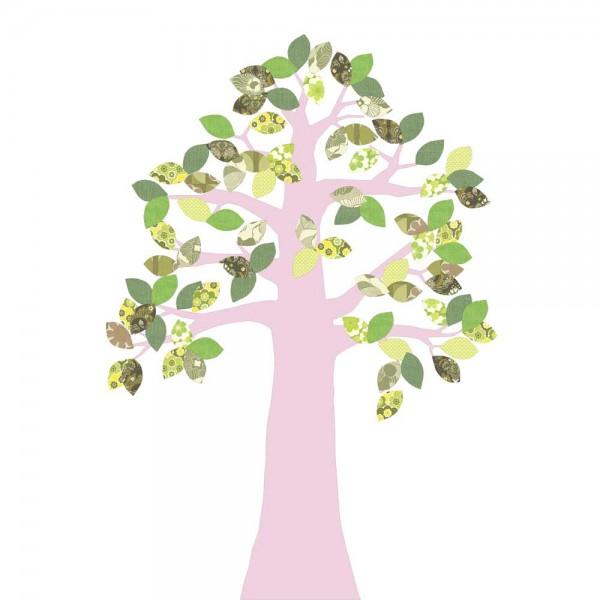 Inke Tapetenbaum 2 Stamm rosa Blätter grün