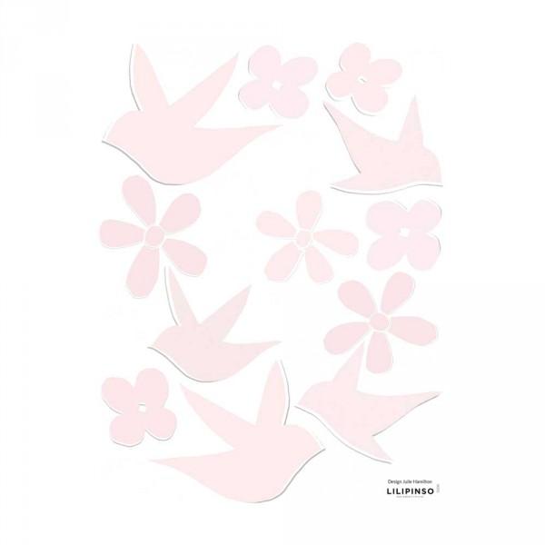 Lilipinso Wandsticker Schwalben und Blüten rosa