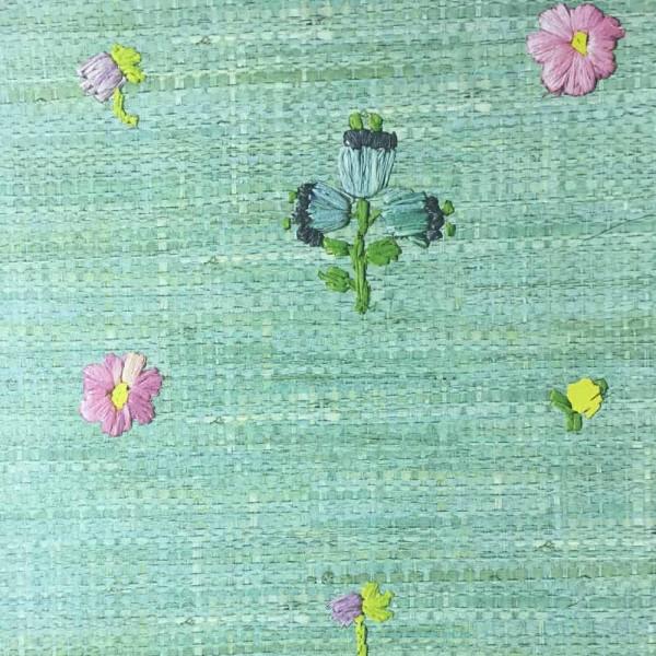 Rice Tapete Raffiabast mit Blumen mint