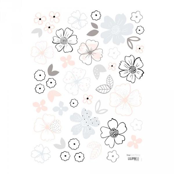 Lilipinso Wandsticker Blüten rosa grau