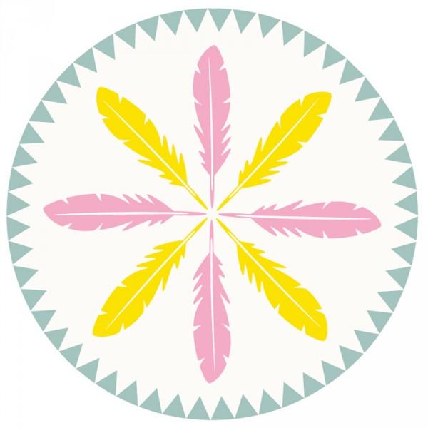 minividuals waschbarer Kinderteppich rund Indianer Federn rosa gelb