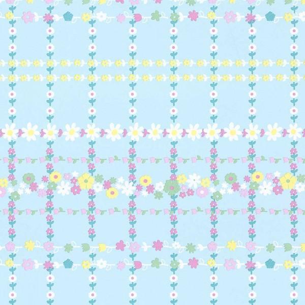 Rice Tapete Blütenkaro hellblau