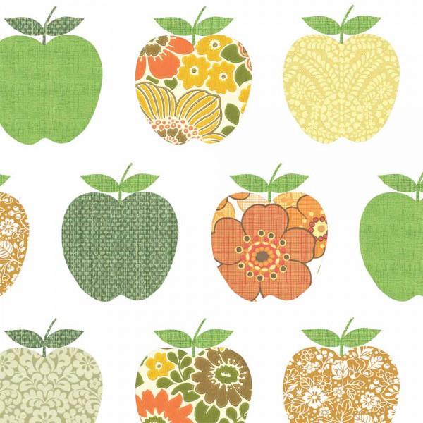 Inke Tapeten Wandbild Retro Äpfel orange