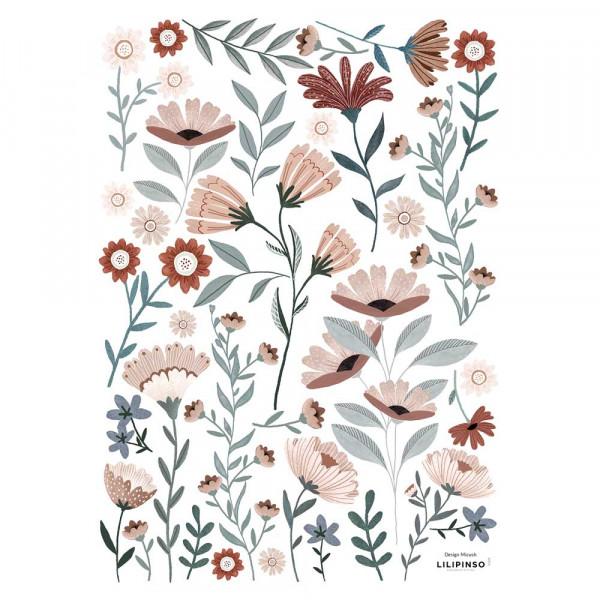 Lilipinso Wandsticker A3 Blüten im Meer graublau rosa