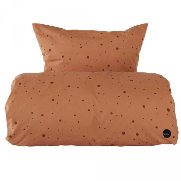 OYOY Kinderbettwäsche Punkte karamel 100 x 140
