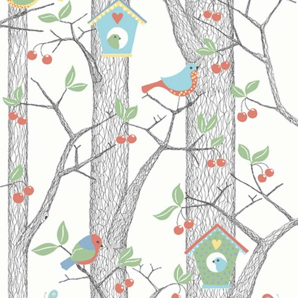 Boras Tapeter Kindertapete Kirschbaum blau grün