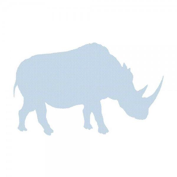 Inke Tapetentier Nashorn hellblau Punkte weiss