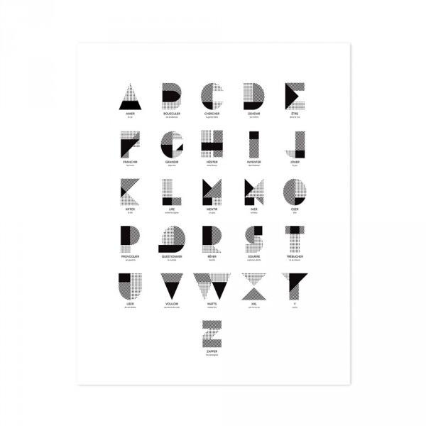 Lilipinso Poster ABC grafisch schwarz auf weiss