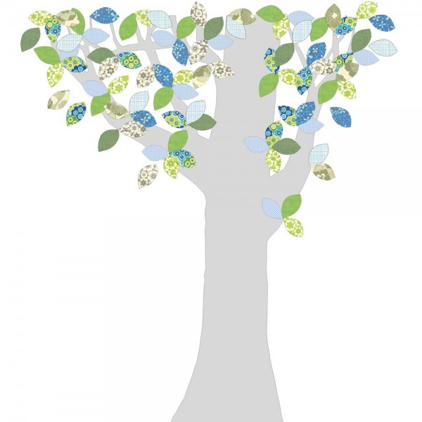 Inke Tapetenbaum Silberstamm grün/blau