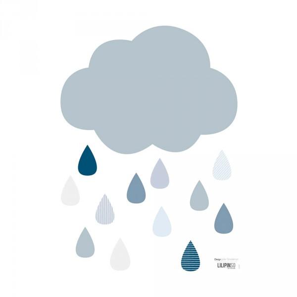 Lilipinso Wandsticker Wolke mit Regentropfen blau