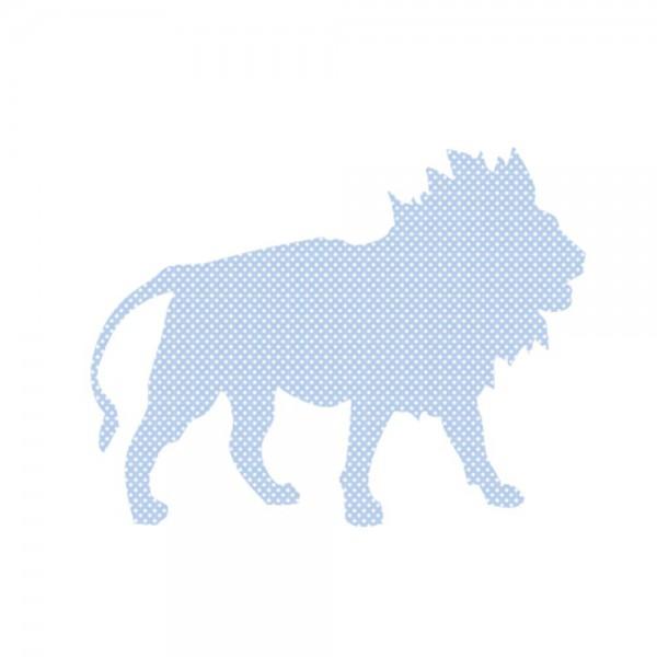 Inke Tapetentier Löwe hellblau Punkte weiss