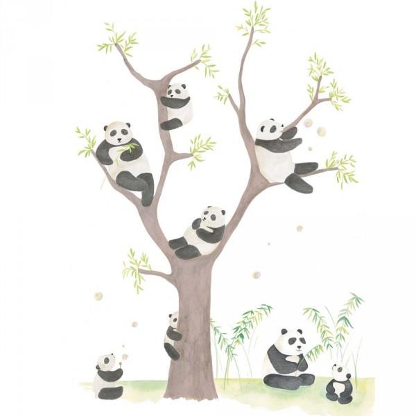 Casadeco Alice & Paul Panoramatapete Panda Bären braun grün