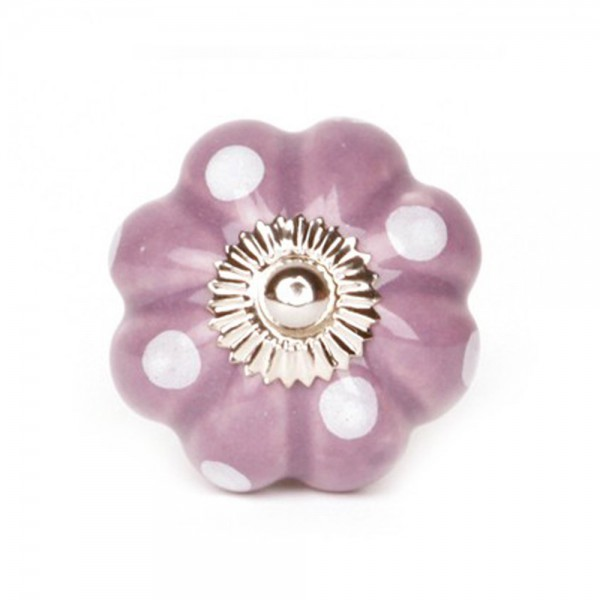 Knaufmanufaktur Möbelknopf Blume Keramik violett Punkte weiss
