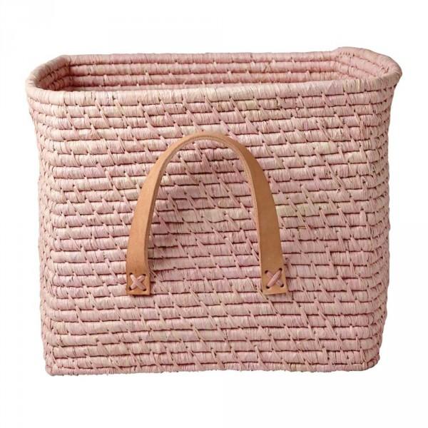 Rice Bastkorb Ledergriffe rosa 30 x 30