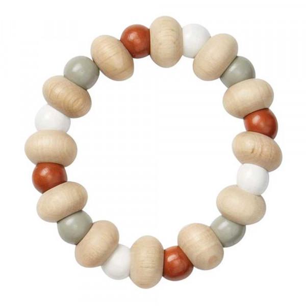 Cam Cam Baby Beissring Perlen Holz caramel natur grau