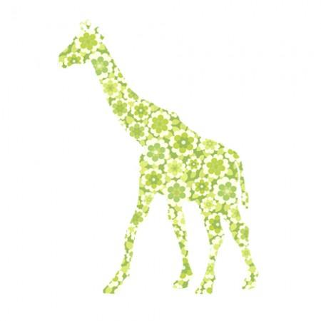 Inke Tapetentier Giraffe Blumen grün
