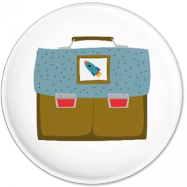 Ava & Yves Kinder Button / Anstecker Ranzen blau