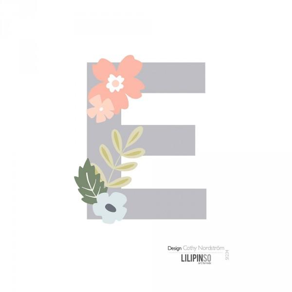 Lilipinso Sticker Buchstabe mit Blüten grau rosa pastell E