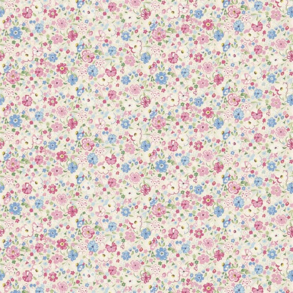 Little Sanderson Abracazoo Motivstoff Blumenwiese creme pink hellblau