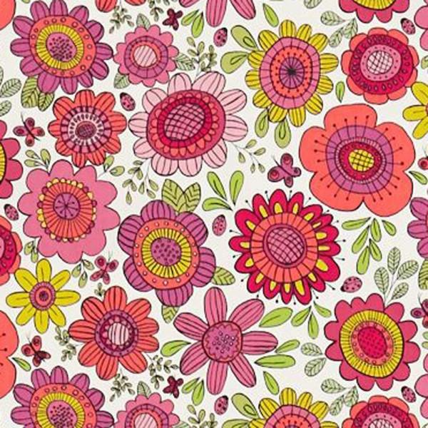 Scion Guess Who Stoff Blumen pink orange