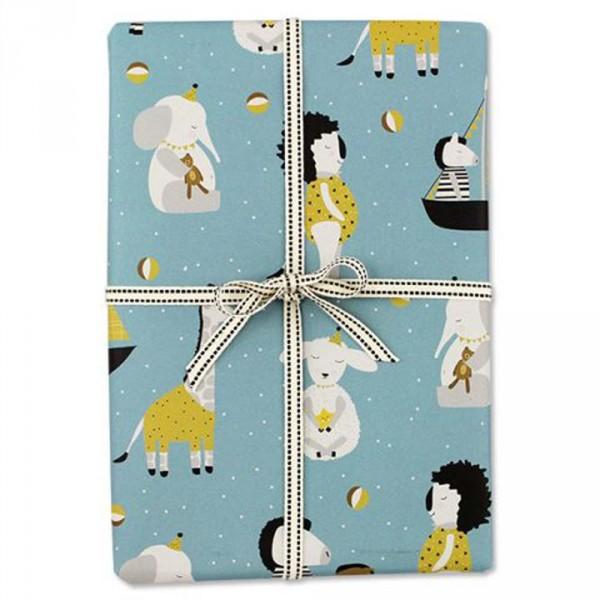 Ava & Yves Geschenkpapier Tiere blau