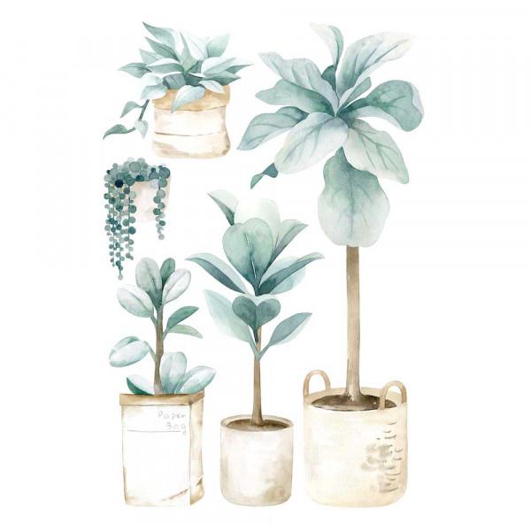 Lilipinso Wandsticker Zimmerpflanzen groß zartgrün beige