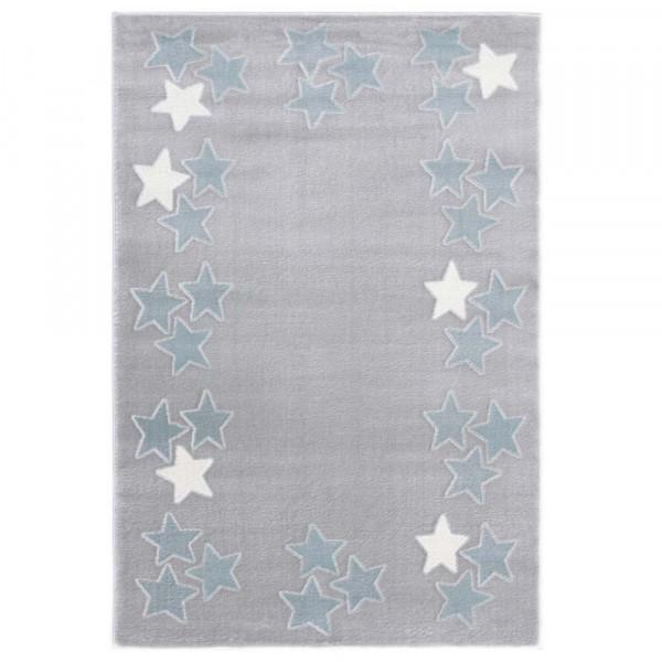 Livone Teppich Sternenband blau grau