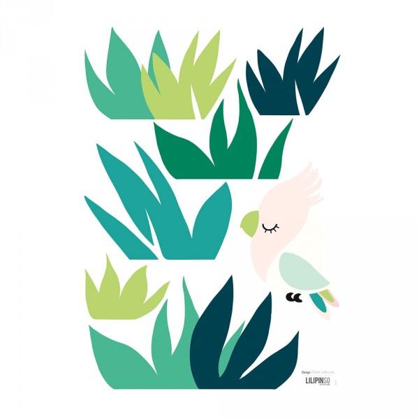 Lilipinso Wandsticker A3 Kakadu und Blätter grün rosa