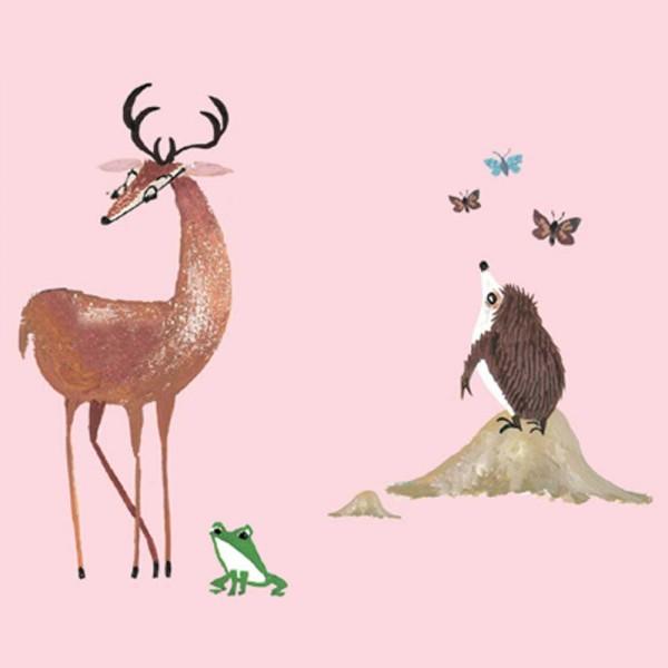 Kek Amsterdam Bordüre Tiere im Wald rosa