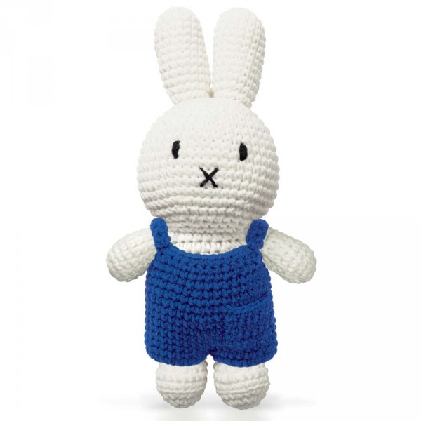 Just Dutch Miffy Häkelpuppe Hase Latzhose blau