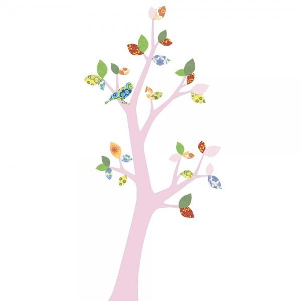 Inke Tapetenbaum 3 Stamm rosa Blätter grün rosa rot